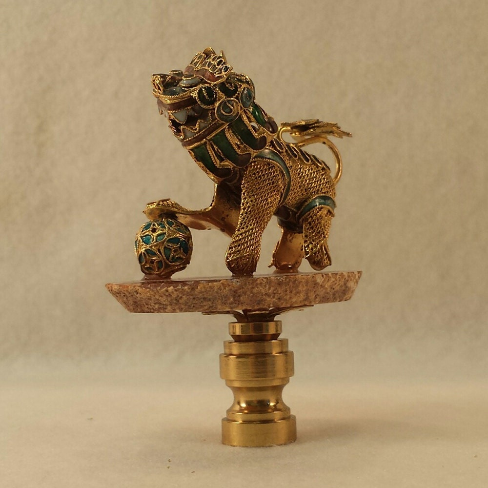 Lamp Finial: Brass Mesh And Cloisonne Temple Lion By LampFinials