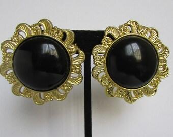 Vintage earring- Black flower stud earrings- 90s Jewelry