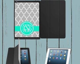 iPad Mini iPad Case iPad Air Case Grey Quatrefoil Teal Monogram iPad Case Monogram Personalized