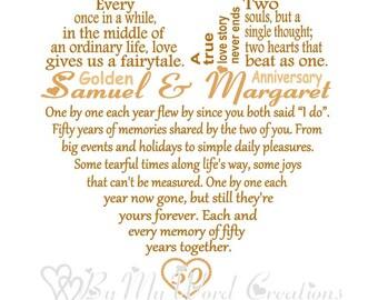 Wedding Anniversary Heart Art, Wedding Anniversary Word Art, Anniversary Gift, Personalized Word Art Typography, PRINTABLE DIGITAL FILE