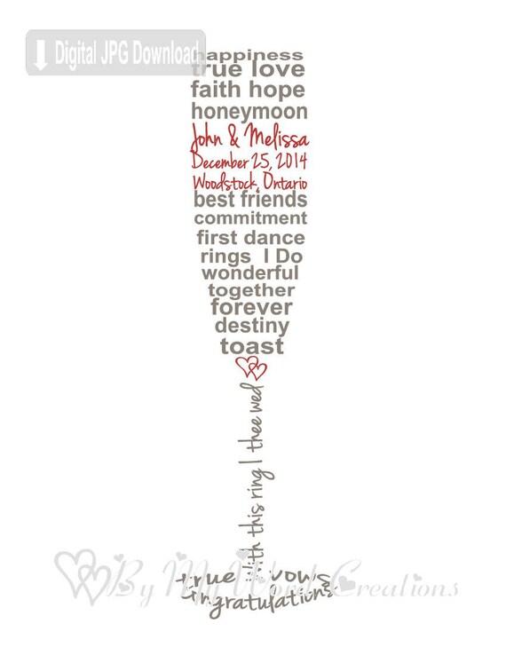Wedding Gift Word Art : Wedding Champagne Glass Art, Wedding Word Art, Wedding Gift ...