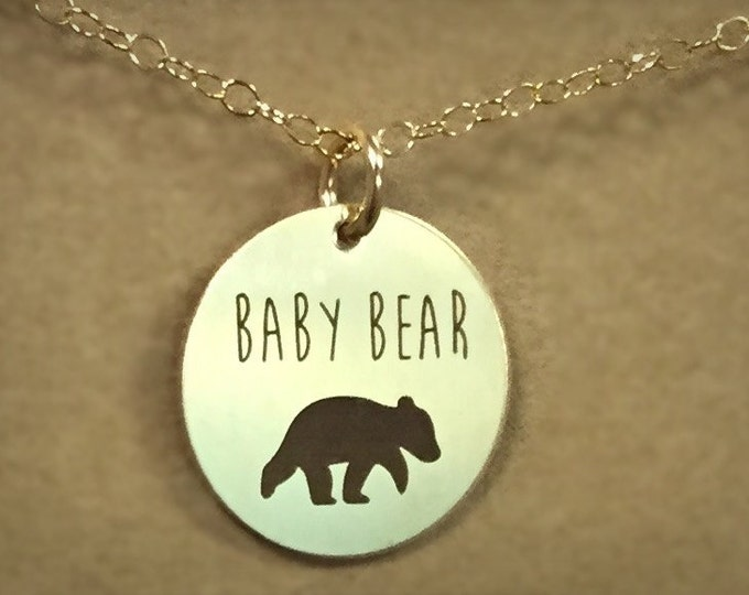 Baby Bear Necklace in Yellow Gold or Rose Gold,Expectant mothers,Mother's day, Gift For Mom, Baby Shower Gift