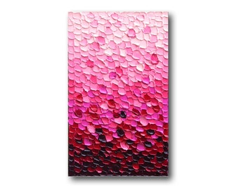 "Pink Texture Painting, Textured Abstract Canvas Art, Textured Impasto Palette Knife, Modern Art, ""Blush"" 16x28"" by SFBFineArt"