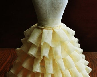 5 Row Layer Light Yellow Ruffled Lace Trim Elastic Lace Trims Bubble Skirt Ruffled Accessory 7.87 Inch Wide 1 Yard S0154