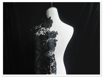 High Quality Black Peony Lace Fabric Floral Embroidered Fabric Wedding Dress Costume Fabric Curtain Fabric 35'' Wide 1 Yard S0161