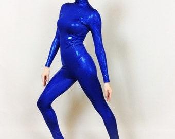Unitard .Catsuit. Aerial, Gymnast  Blue Costume.