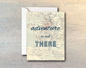 Adventure Is Out There Vintage Map Card with White Envelope - Typography Message Greeting Cardstock Paper - Congratulations, Graduation