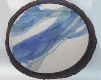 17in Stoneware colourwash dish