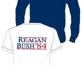 Pocket T-shirt--Reagan Bush 84'--Short Sleeve~~Comfort Colors Pocket Tee~~Navy, White or Crunchberry