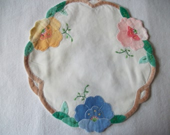 Small Pink And Yellow Appliqued Doily
