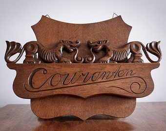 Vintage Dutch Carved Wood Newspaper Wall Rack, Newspaper Holder, Hand Carved, Carved Wood Wall Art, Typography, Calligraphy, Lion Art