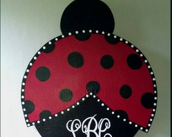 Ladybug door hanger, custom wooden door art, wall art