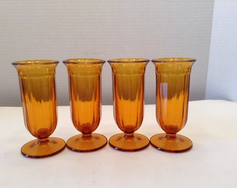 Set of Four Amber Dessert  or Ice Cream  Parfait Glass~ Gold Glasses ~ Vintage