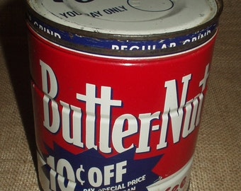 Vintage 2 LB Butter-Nut Coffee Can Original 1960s Country Store Advertising