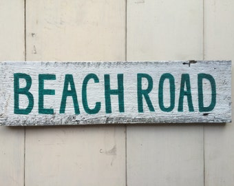 Beach Road Hand Painted Rustic Sign