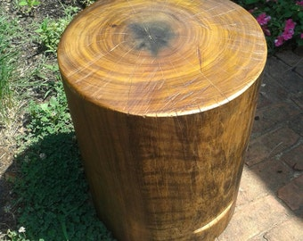 "Warm Natural Brown Stump Table Bedside Table Sofa Table Stump Stool - 9-10"" diameter Custom Heights Available"