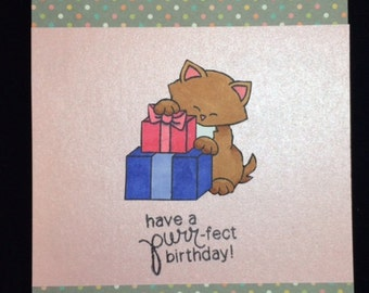 Have a Purr-fect Cat Birthday Greeting Card
