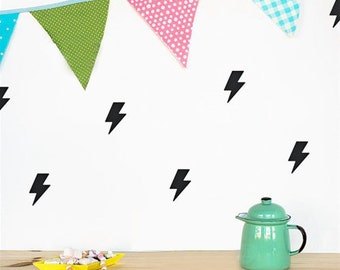 Black lightning bolt wall decal stickers | Set of 40 | 5 x 7.5cm | Available in a range of colours