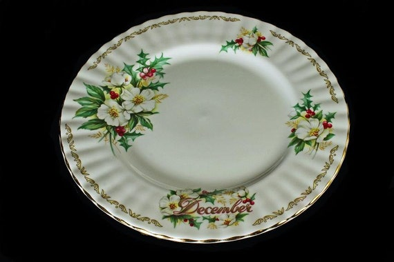 Salad/Dessert  Plate Golden Crown E&R Bouquet of the Month Christmas Rose