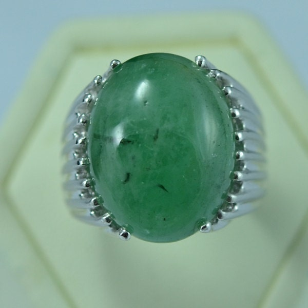 Huge Sterling Silver Natural Berly Emerald Men Ring Design