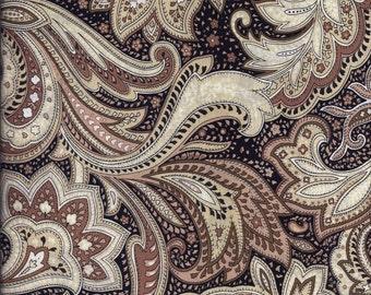 Black Tan Paisley Curtain Valance