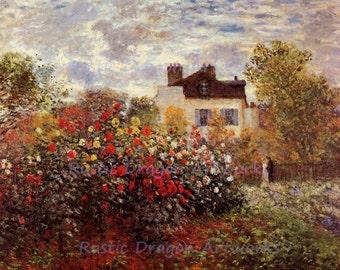 "Claude Monet ""Monets Garden in Argenteuil"" 1873 Paris France Cottage Flowers Colorful Wall Hanging"