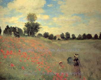 "Claude Monet ""Wild Poppies"" 1873 Woman Cild Walking through Poppie Field Flowers Wall Hanging"