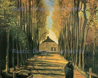 "Vincent Van Gogh ""Avenue of Poplars at Sunset"" 1884 Reproduction Digital Print  Autumn Sunset  Wall Hanging"