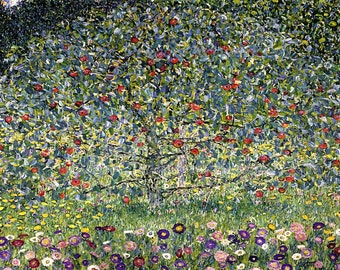 "Gustav Klimt  ""The Apple Tree""  1912 Reproduction Digital Print Apples Tree Flowers  Wall Hanging"