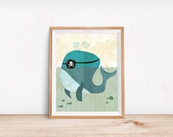 Blue Whale Illustration, Pirate Whale, Nursery Art, Children Decor