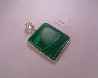 Natural Malachite Pendant, 72.1 ct. Rectangle Shaped Gemstone Pendant