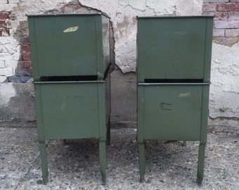 1940's original green vintage industrial pressed and folded steel four legged storage bin that can stack