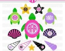 Seashells & Sea Turtles SVG Cut Files - Monogram Frames for Vinyl Cutters, Screen Printing, Silhouette, Die Cut Machines