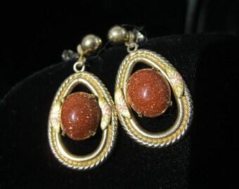 Earrings,Goldstone Drops