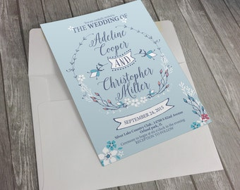 DIGITAL, Wedding Invitation Set, Blue wedding,Floral,Printable Invitation, Wedding Set, wedding printable, invitation, floral, hand drawn