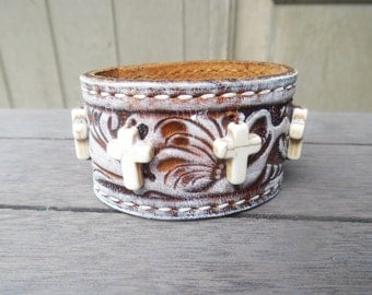 Brown Ivory White Beaded Crosses Distressed Stamped Up-Cycled Leather Cuff Bracelet