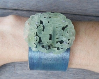 Turquoise Ivory Sparkly Chinese Hand-Carved Jade Phoenix Upcycled Leather Cuff Bracelet