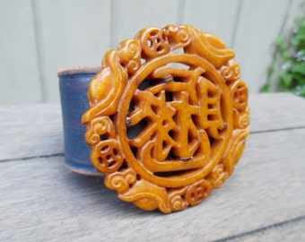 Blue Amber Orange Chinese Hand-Carved Jade Pendant Statement Upcycled Leather Cuff Bracelet