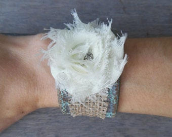 Turquoise Ivory Fabric Rose Burlap Shabby Chic Distressed Upcycled Leather Cuff Bracelet