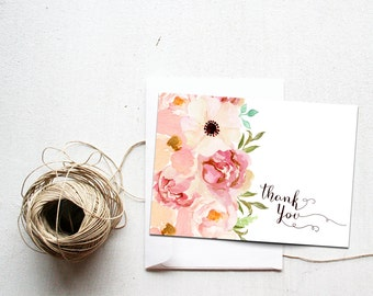 Printable Thank You Card, Instant Download, Blush Floral Stationery, Matching Set, DIY Bridal Shower Thank Yous, Baby, Boho Chic, Notes