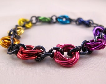 Dark Rainbow Chainmaille Bracelet - Aluminum - Mobius Flowers - Chainmail Jewelry