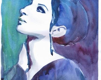 Barbara Streisand, Watercolor painting, barbra streisand, illustration, Celebrity Portraits, old hollywood, girl painting, portrait painting