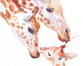 Giraffe art  print, animal art painting, watercolor, nursery, african animals art print, animal art for kids, giraffe drawing, funny giraffe