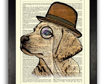 Golden Retriever Dog in Monocle Wall Art, Dog Poster Print, Dog Illustration, Animal Prints, Dog Prints, Golden Retriever Drawing, Dog Art