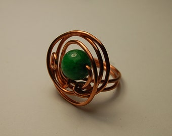 Ring of copper with tinted quartz,handmade