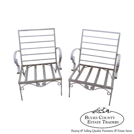 Vintage Pair of Iron Patio Lounge Chairs