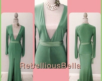 Deep V, Green with Envy Long Dress.  SALE!