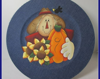 Scarecrow Denim Decorative  Plate, fall, thanksgiving, hostess gift, teacher gift,