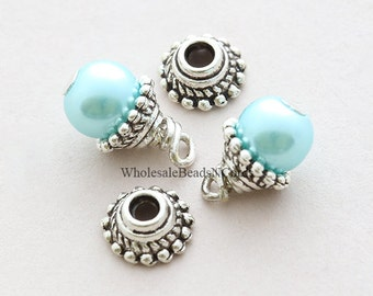 10 Antiqued Silver 7.5mm Bead Caps Tibetan Style 7.5x4mm Cone Bead Cap for 6mm Beads - Findings USA Wholesale Bulk Discount Beads  1006