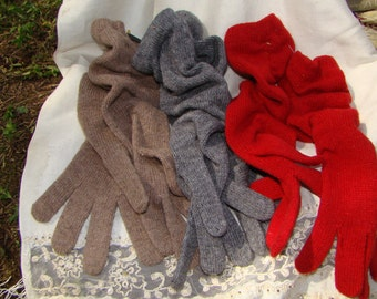 Wool Gauntlet Gloves - Red, Taupe and Gray